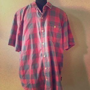 Men's button down shirt sleeve plaid